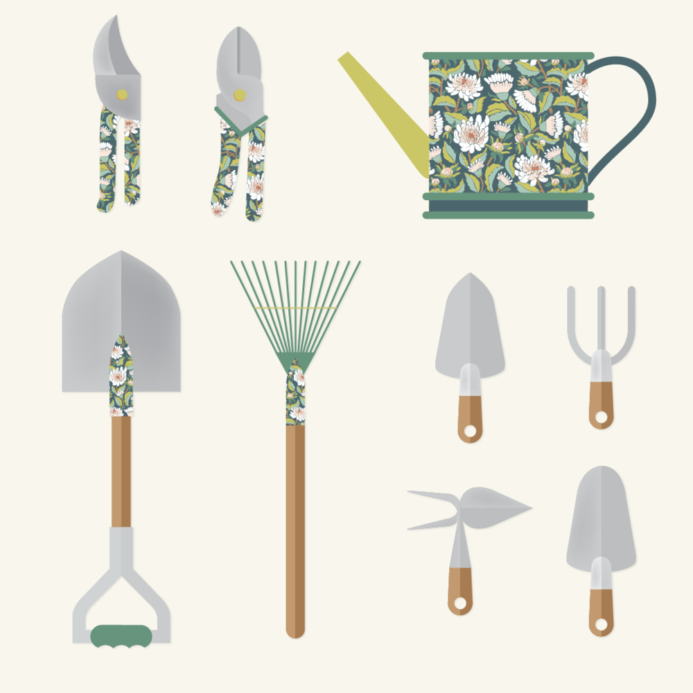 Dahlia Garden Tools Mockup: Jessie Tyree Jenness for Root & Branch Paper Co.