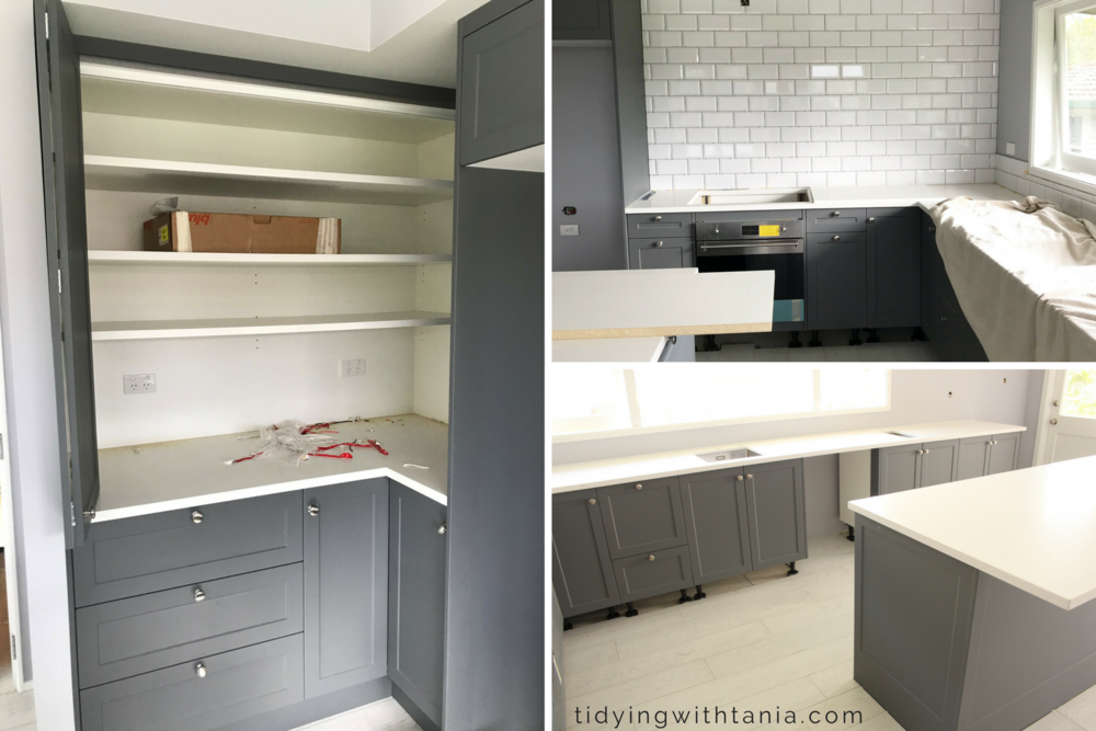 Kitchen - Bench top pantry, subway tile splash back and shaker style cabinets