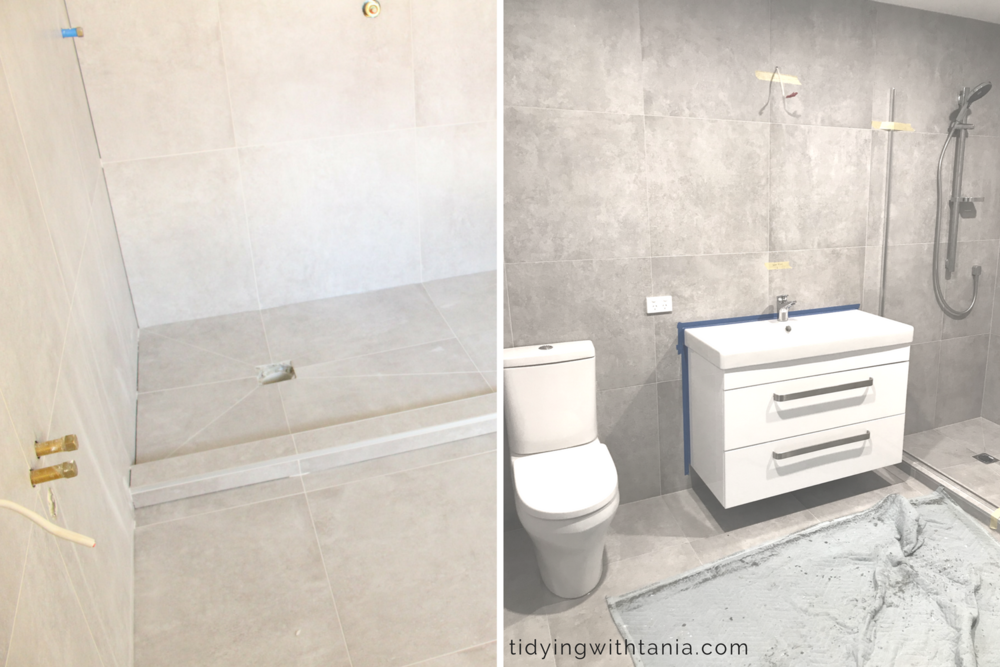 Ensuite - Tiled shower, wall hung cabinet and toilet