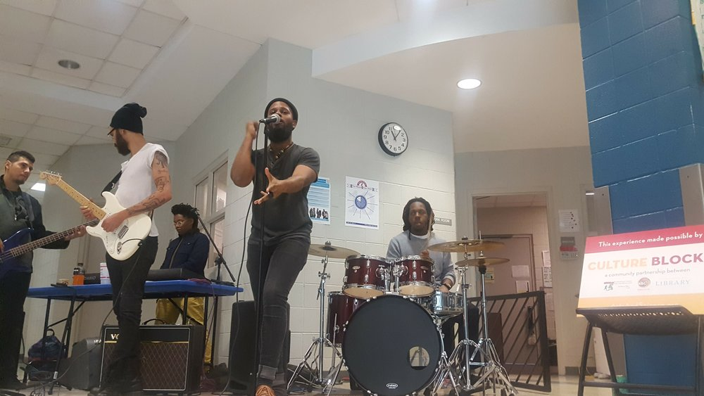 Beatties Ford Library & Southview Rec Center, West Charlotte | Friends of Hip Hop Orchestrated Blu House hold down the stage in public community spaces around Charlotte for those waiting in the Voting Lines.