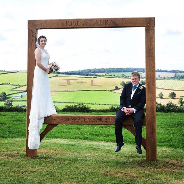 Framed! #devonwedding #brideandgroom #countryside #whataview #J+L #lauraandjosh #beautiful #weddingphotography