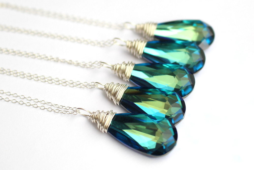 Blue Teardrop Necklace - Swarovski Necklace - Peacock Jewelry