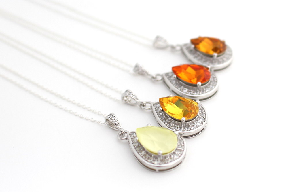 Yellow Bridal Necklace - Swarovski Necklace