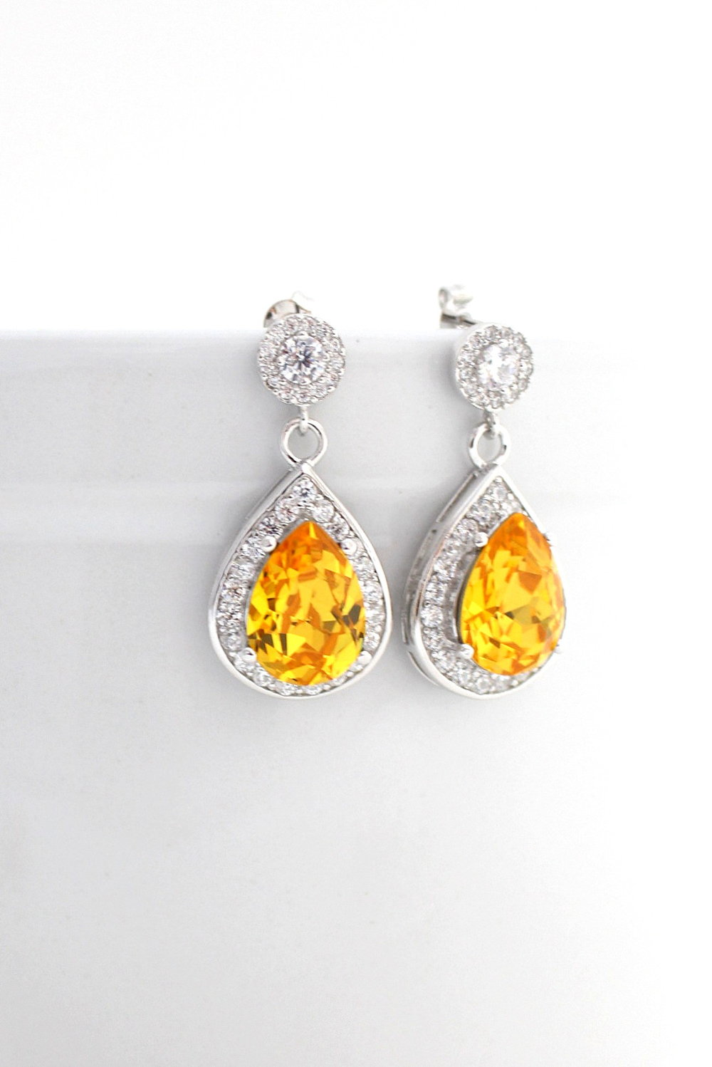 Bridal Earrings - Yellow Wedding