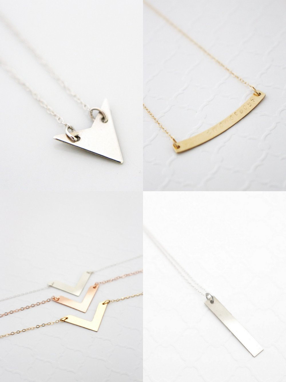 Arrow Necklace - Chevron Necklace - Vertical Bar Necklace - Curved Bar Necklace