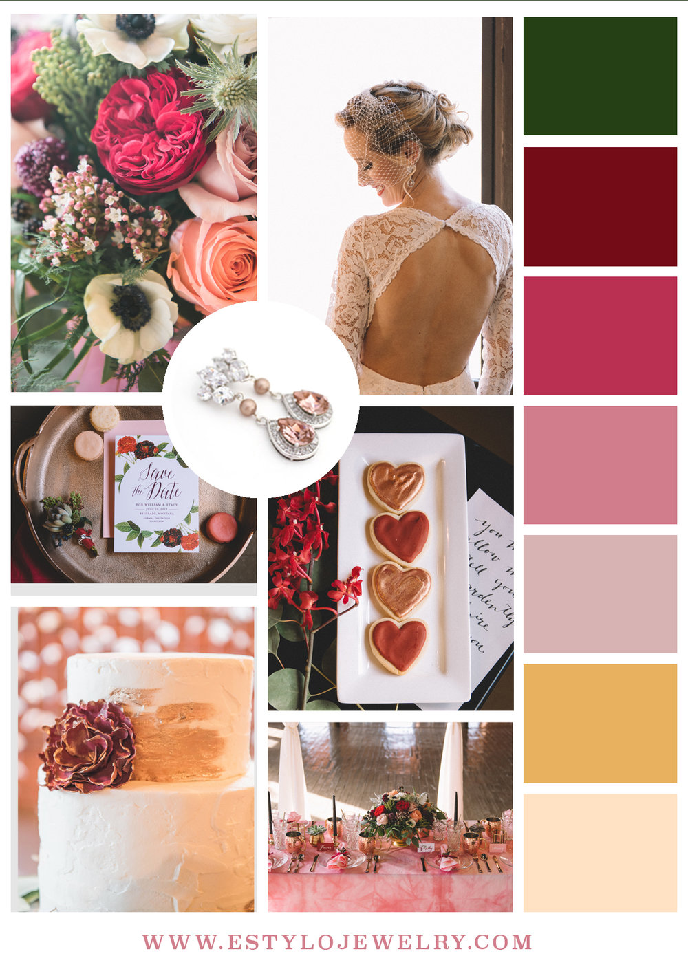 Valentine's Inspired Wedding Shoot in berry colors, pink and mustard.