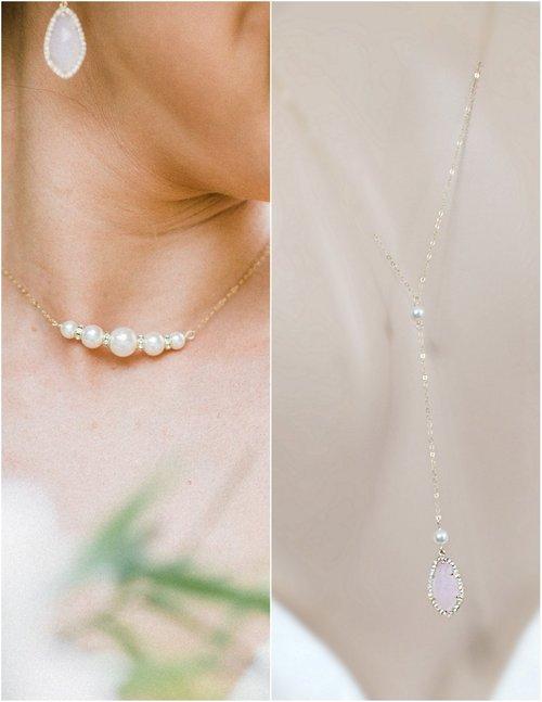 6131584fddf7 Delicate Pearl Bridal Back drop Necklace