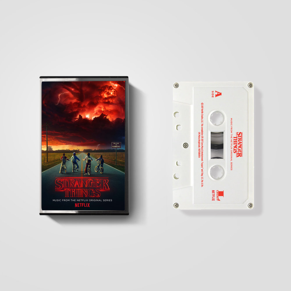Featuring classic '80s hits... - Seasons 1 & 2 of Stranger Things has a memorable sound and features many hits of the '80s. My task was to create packaging, advertising, and supporting Spotify content in time for the Stranger Things premier on Netflix.