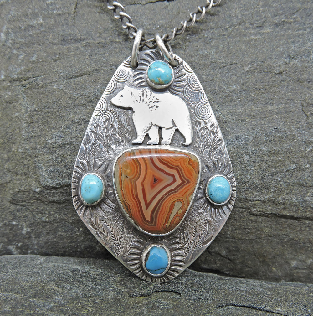 Bear pendant with Tee Pee Canyon Agate and turquoise  (Sold)