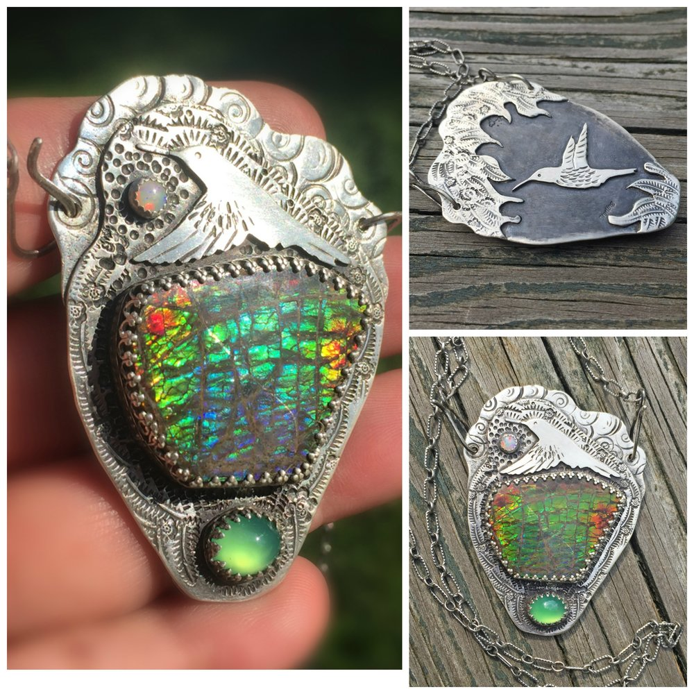 Ammolite Hummingbird Necklace with opa  l  (Sold)