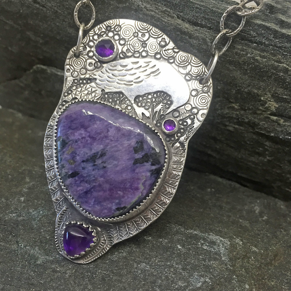 Purple Crow Necklace  - Charoite and amethyst available at  The Cassidy Gallery, Jackson, NH