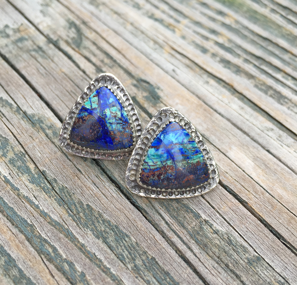 Azurite Post Earrings  (Sold)