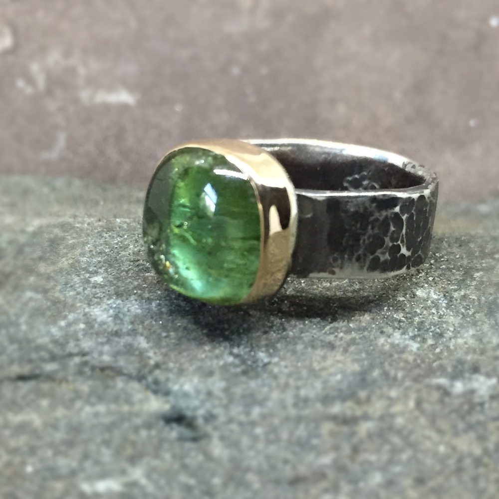 Cushion Cut Green Tourmaline Ring  18K Gold and Sterling Silver (Sold)