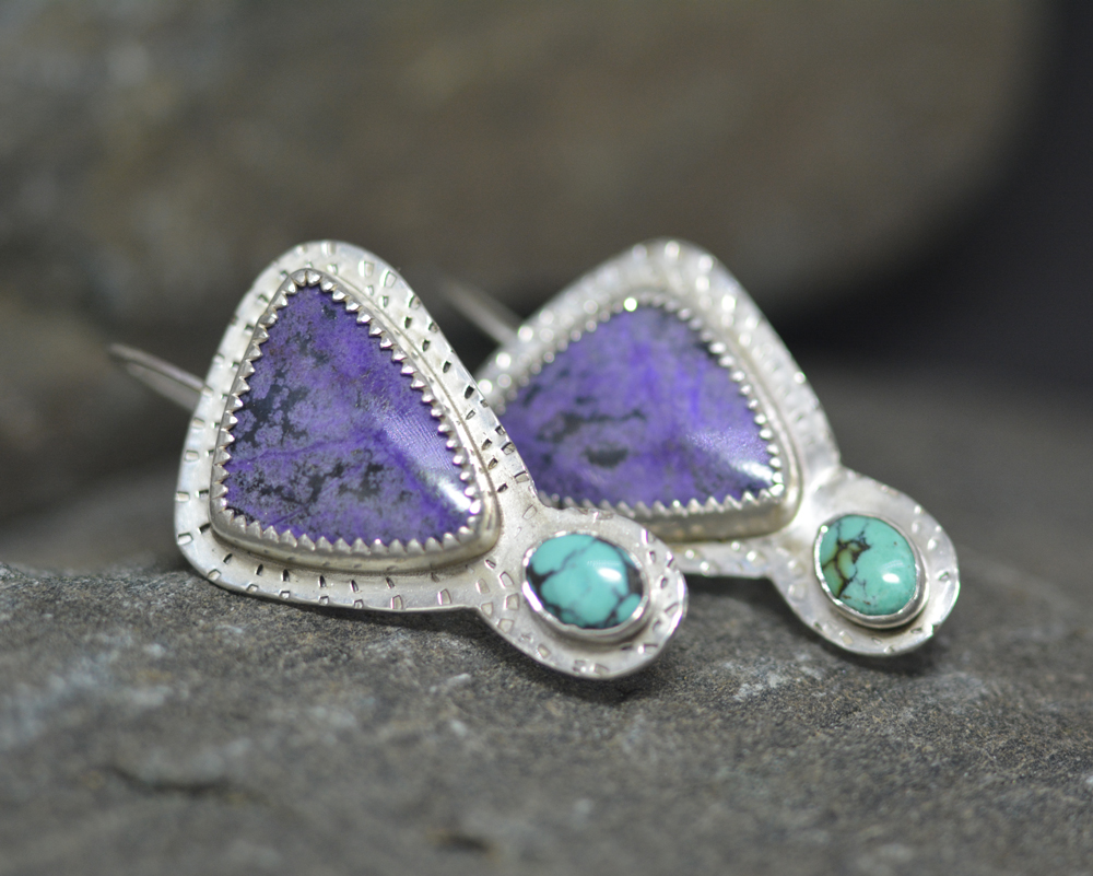 Suglilite and Turquoise Earrings  (Sold)