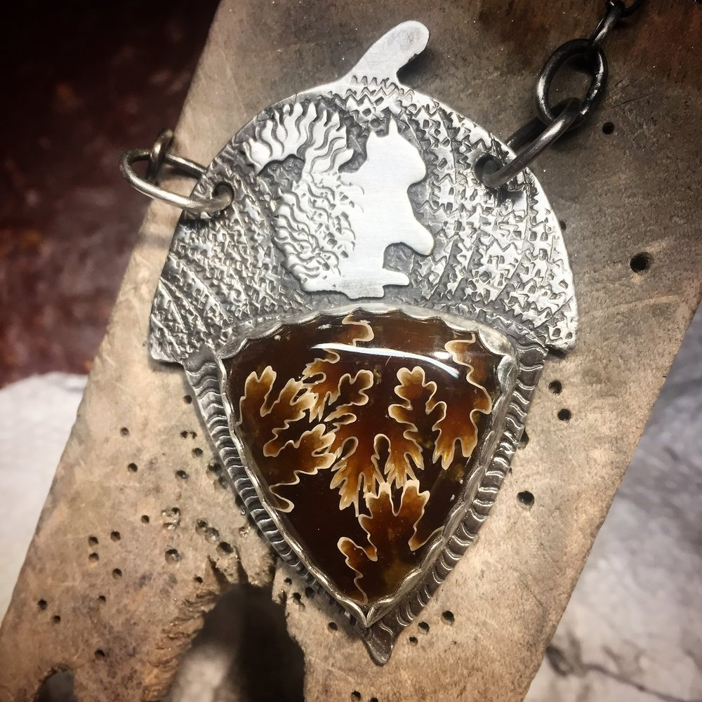 Ammonite Pendant with Squirrel.  Front. (Sold)