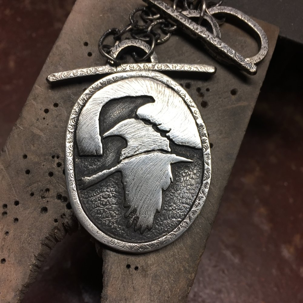 Three Crows Necklace.  Front. (NFS)