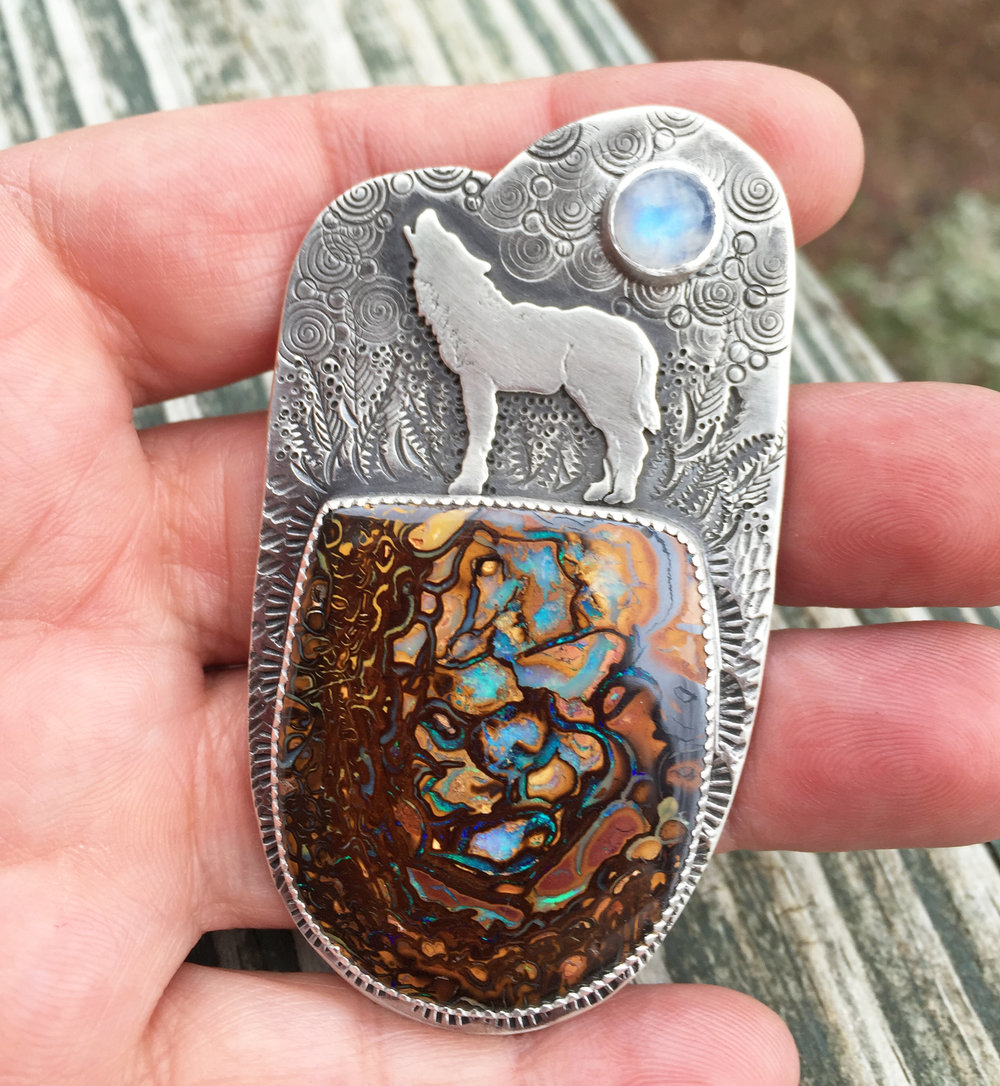 Howling Wolf Pendant with Boulder Opal and Moonstone  (Custom Order - Sold)