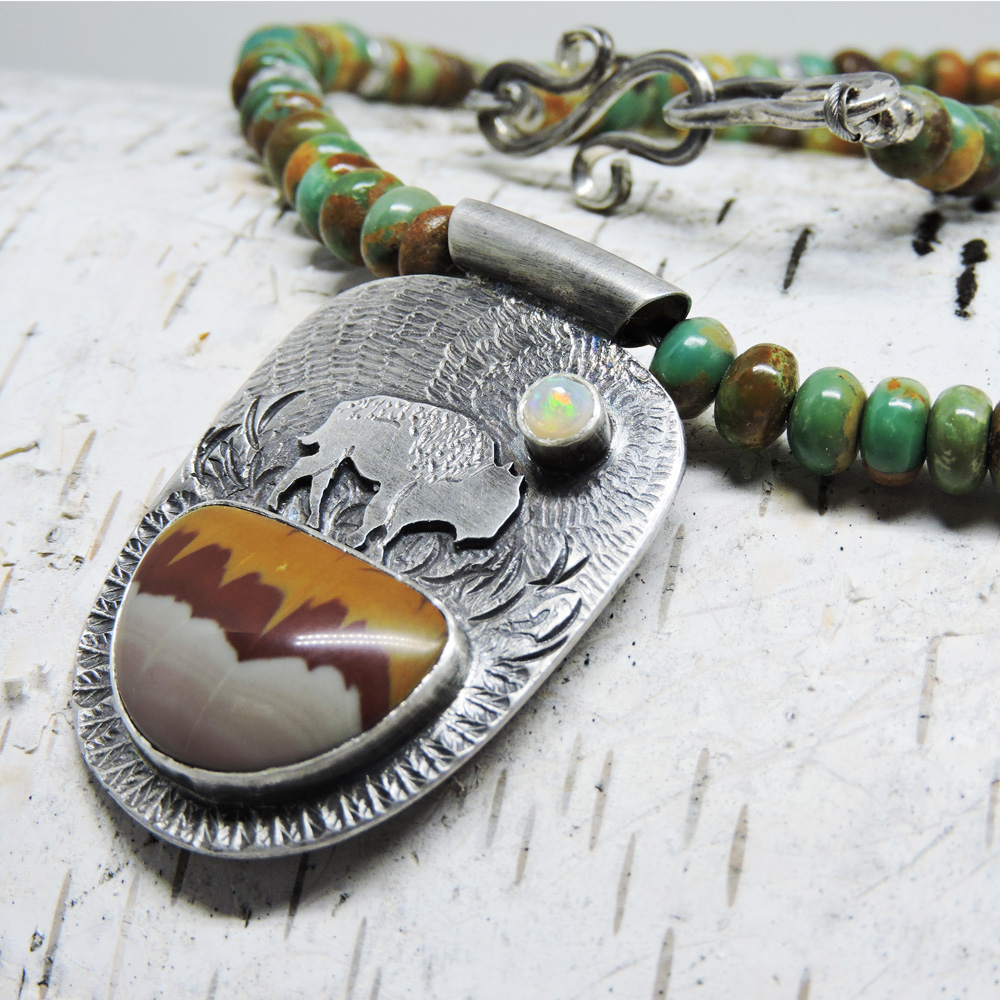 Bison necklace with owyhee jasper, welo opal and turquoise.