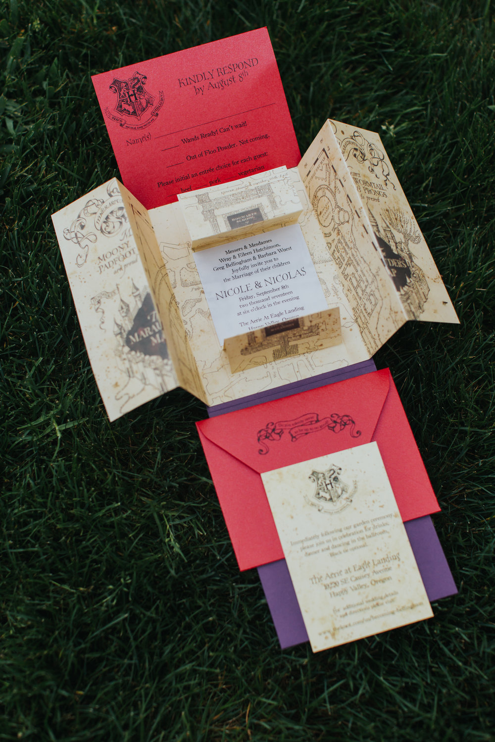 www.andreazajonc.com | Crave Design | Custom Stationery | Harry Potter Wedding Invitation