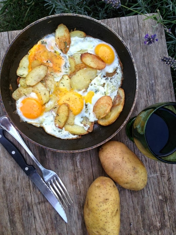 Pan-fried home grown potatoes with fried eggs!