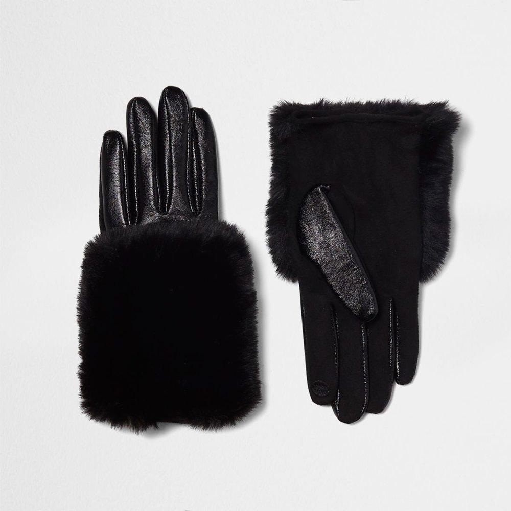 Black Faux Fur Trim Leather Gloves, £30, River Island