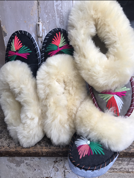 Hand Embroidered Sheepskin Slippers, £30, Forage Somerset