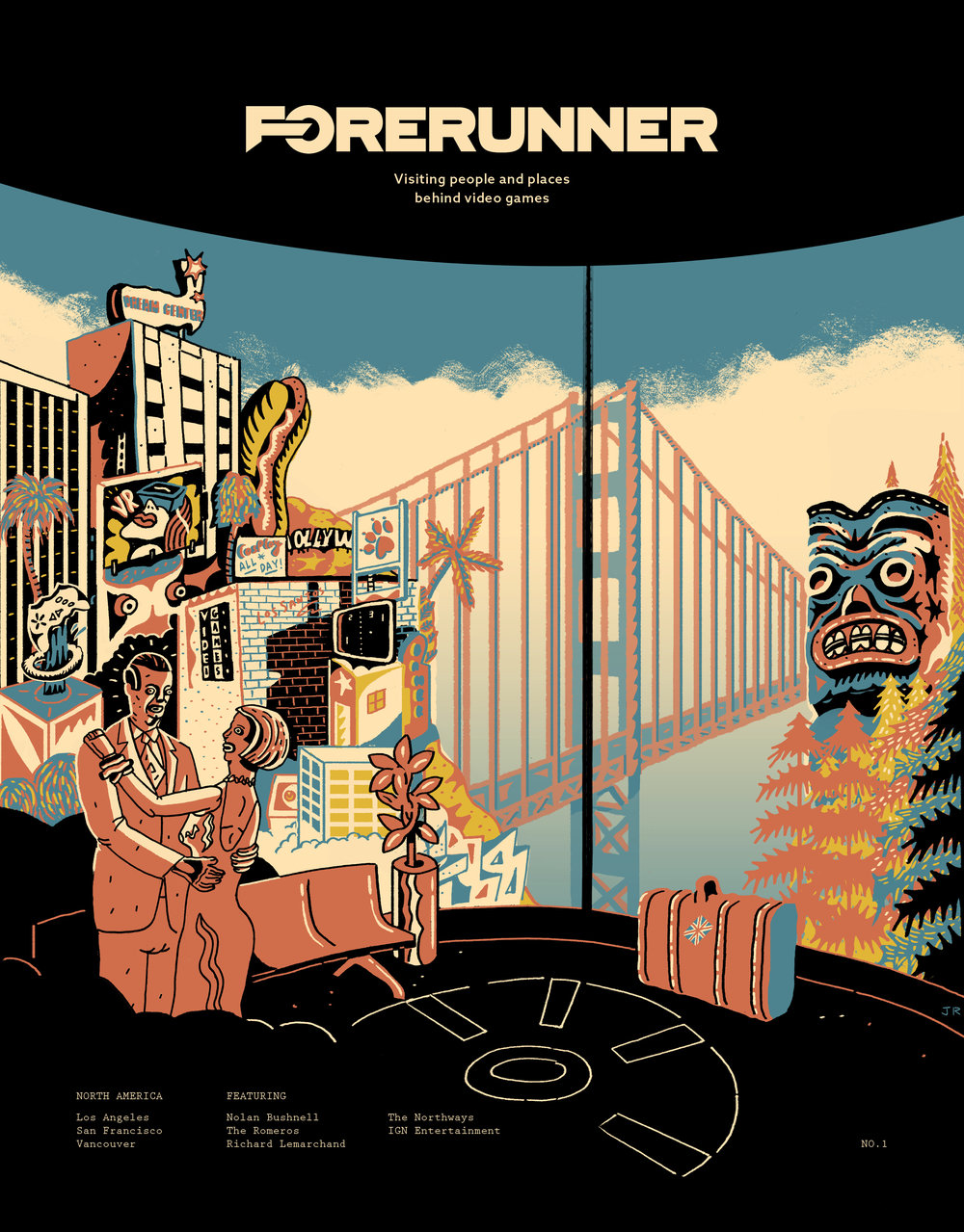 'Issue 1 Cover'   As a reportage illustrator, I travelled around West Coast America with a London based video game magazine called Forerunner.  The contents of my work manifested itself into issue 1 of the magazine.