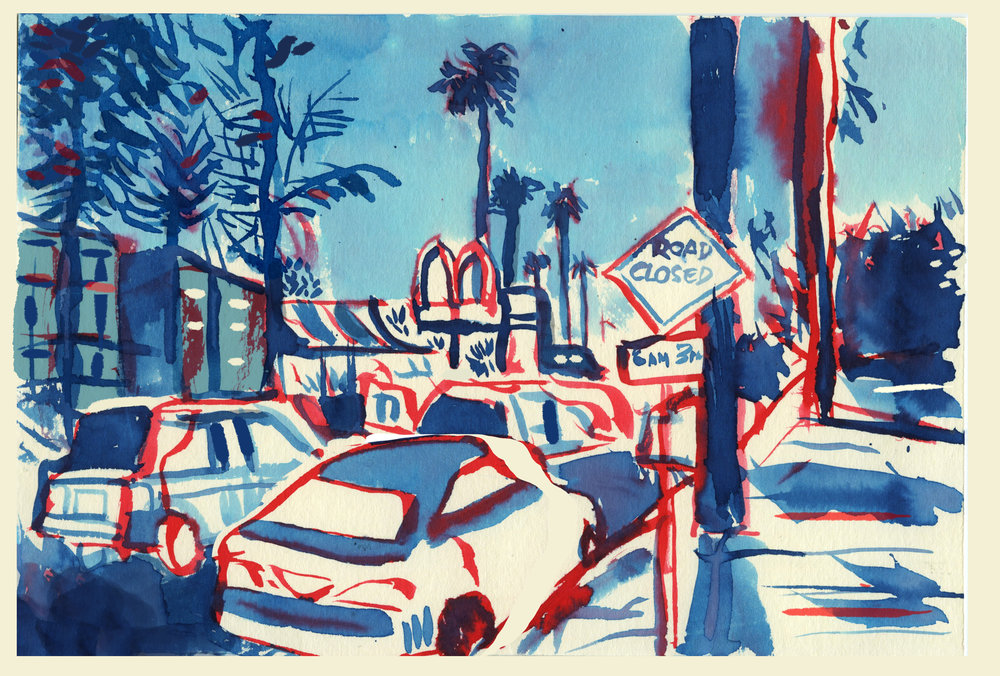 'L.A Night Scene'   Ink sketch of an L.A street.