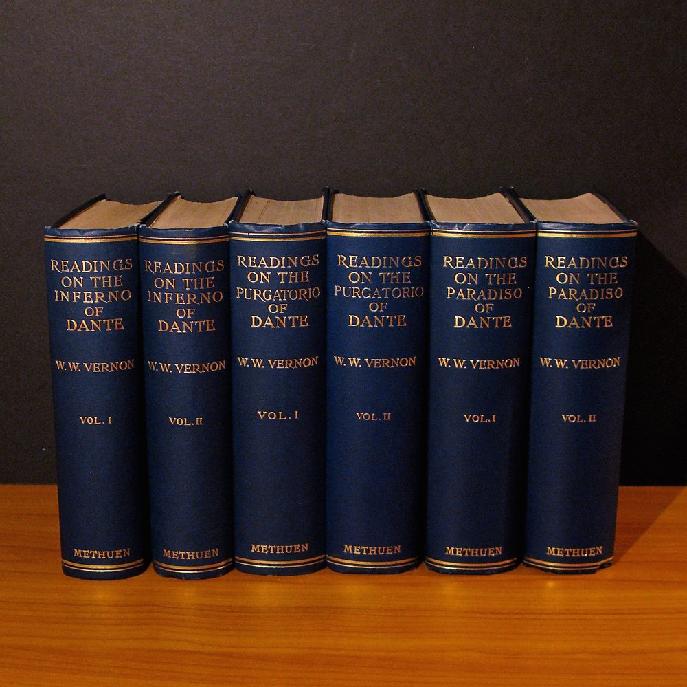 READINGS ON THE INFERNO OF DANTE (2 VOLS), READINGS ON THE PURGATORIO OF DANTE (2 VOLS) AND READINGS ON THE PARADISO OF DANTE (2 VOLS) by William Warren Vernon (London, 1906-1909)