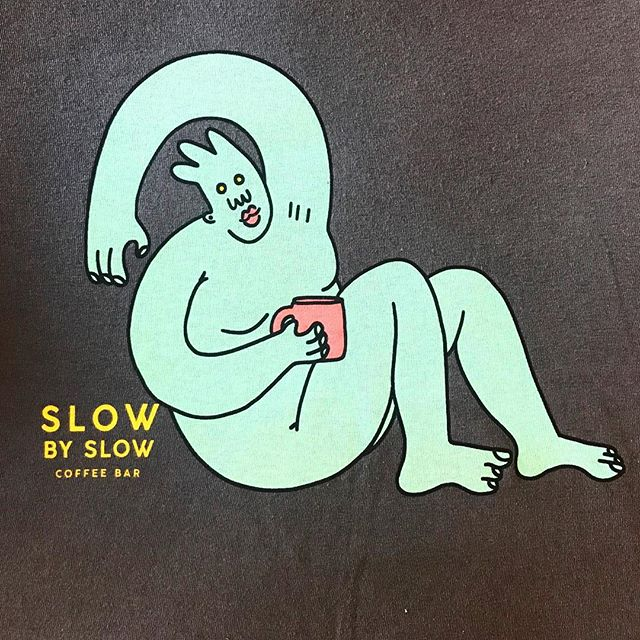 Fun 4 color discharge prints for @slowcoffeebar  Design by @dreyfus.art