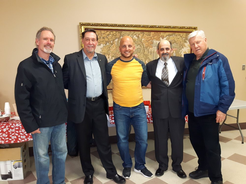 Congratulations to Brother's Tim Furgiuele and Andy Magyar on getting their 2nd Degrees. Pictured from left to right are; Bro. Andy Magyar, the Deputy Grand Knight, Bro. Jim Avery, Bro. Tim Furgiuele, Financial Secretary, Bro. Paul Laframboise and Chancellor, Bro. Allan Taylor.