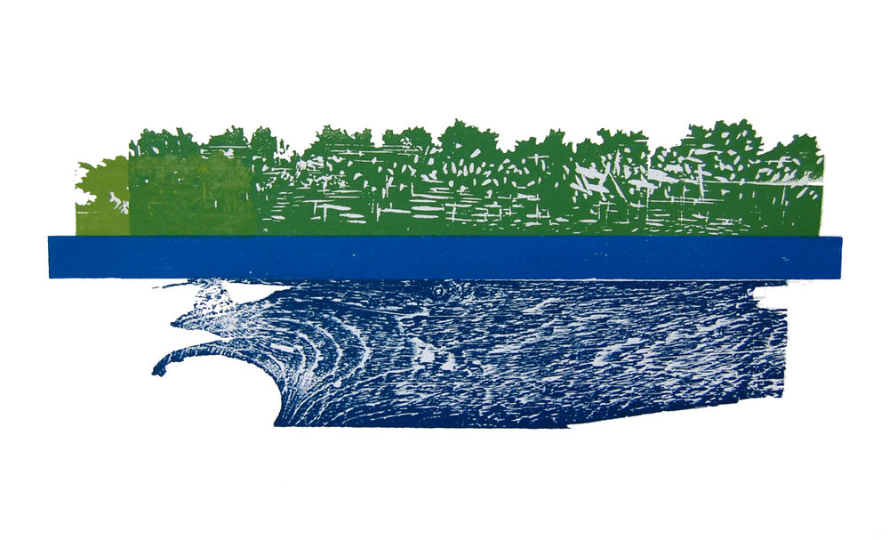 Tributary in Balance, 2015 <br> Block Print <br> (17'' x 22'')