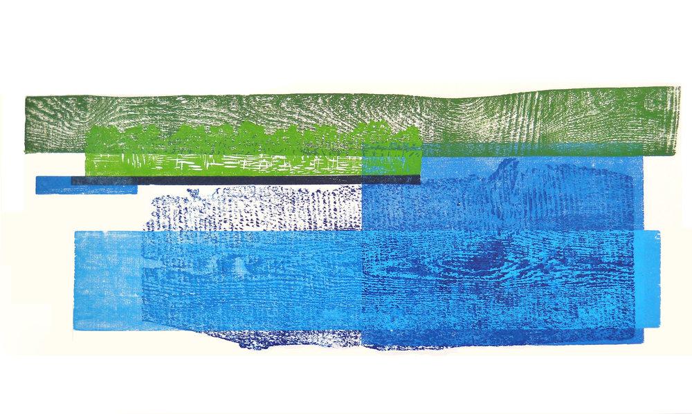 Reservoir #1, 2015 <br> Block Print <br> (28'' x 43'')