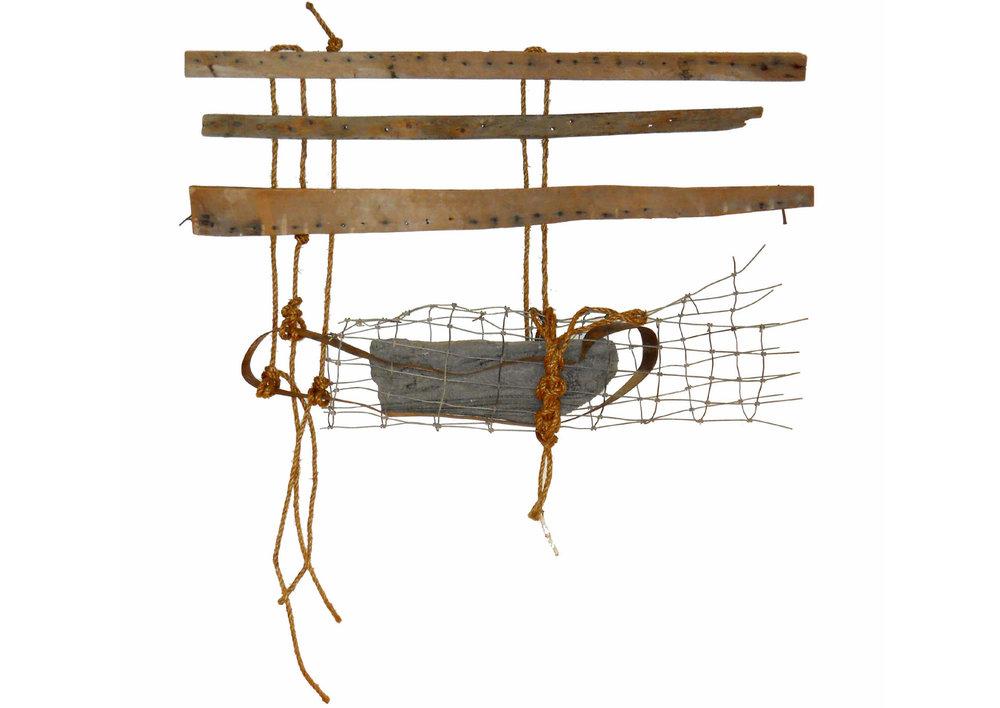 Vestige, 2015 <br> wood, steel, rope, stone <br> (42'' x 46.5'' x 7'')