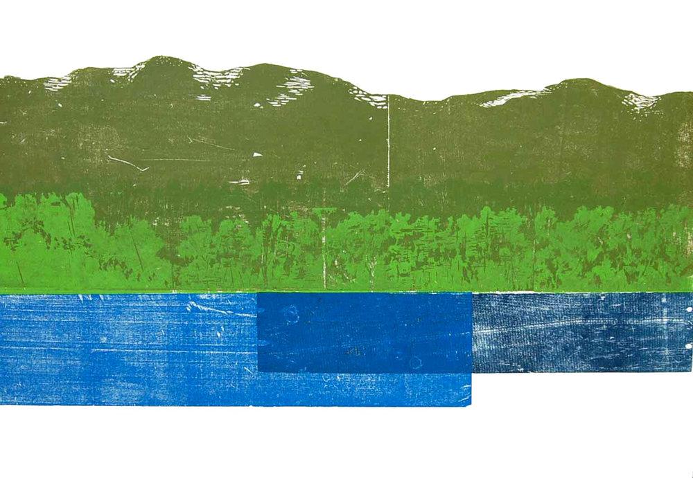 River Landscape #1, 2008 <br> Block Print <br> (23'' x 33.5'')