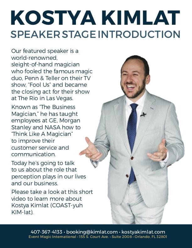 Speaker Bio: Read on Stage