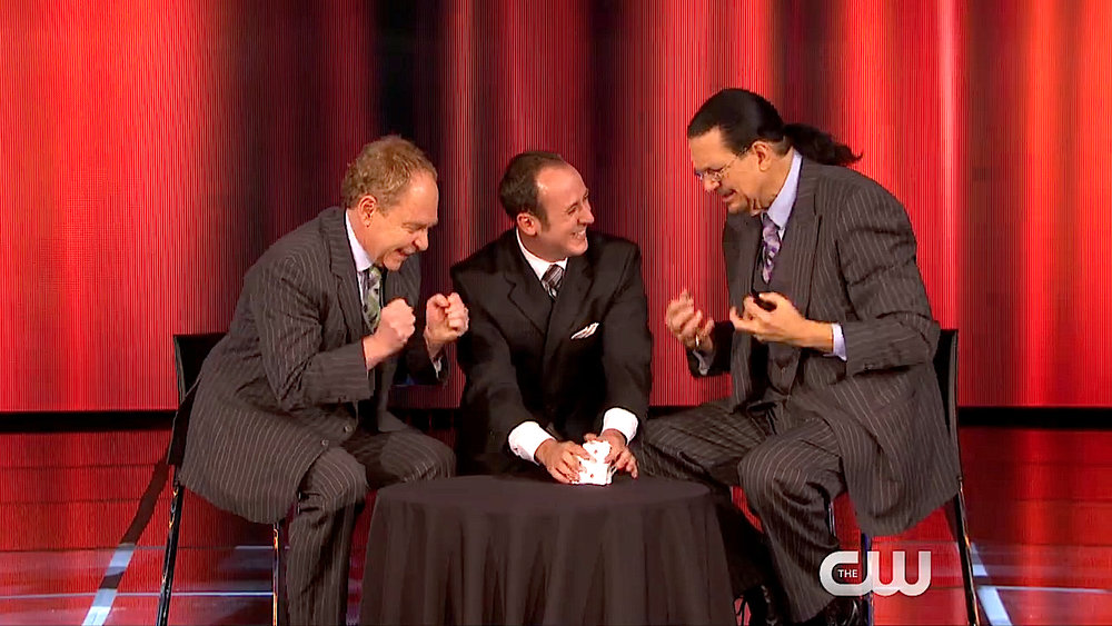 Kostya with Penn & Teller. Kostya first hit the national stage with his 2015 appearance on Penn & Teller: Fool Us