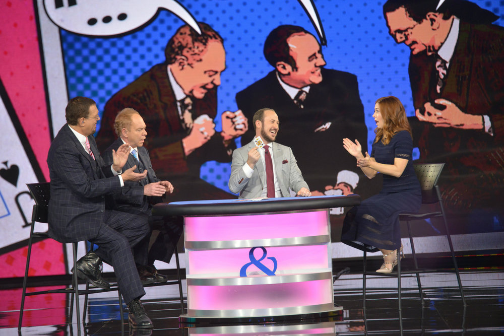 Penn & Teller and their co-host Alyson Hannigan react to Kostya's remarkable card trick on the stage of Penn & Teller: Fool Us.