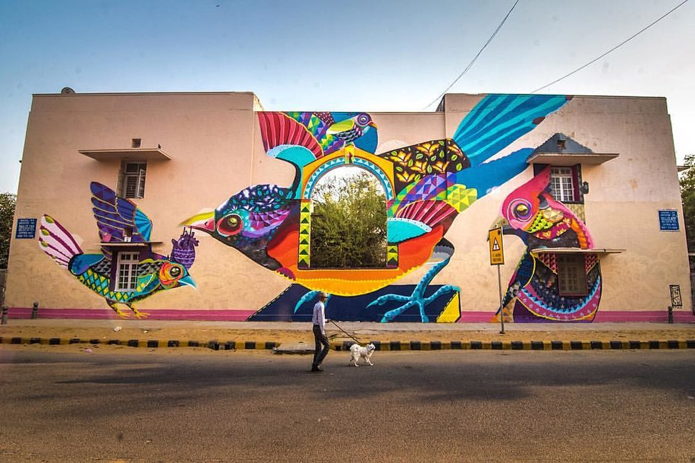 'Colours of the Soul' by SENKOE for St+Art Lodhi Art District, photo by Akshat Nauriyal