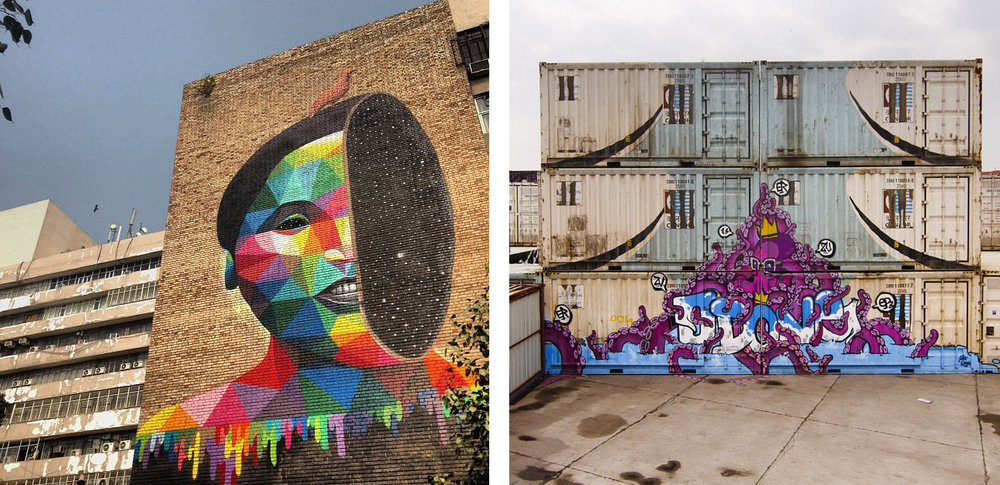 Okuda San Miguel for St+Art Delhi, photo by St+Art / 'Take your rights' by Swen Simon for St+Art WIP, photo by Arjun Bhasin