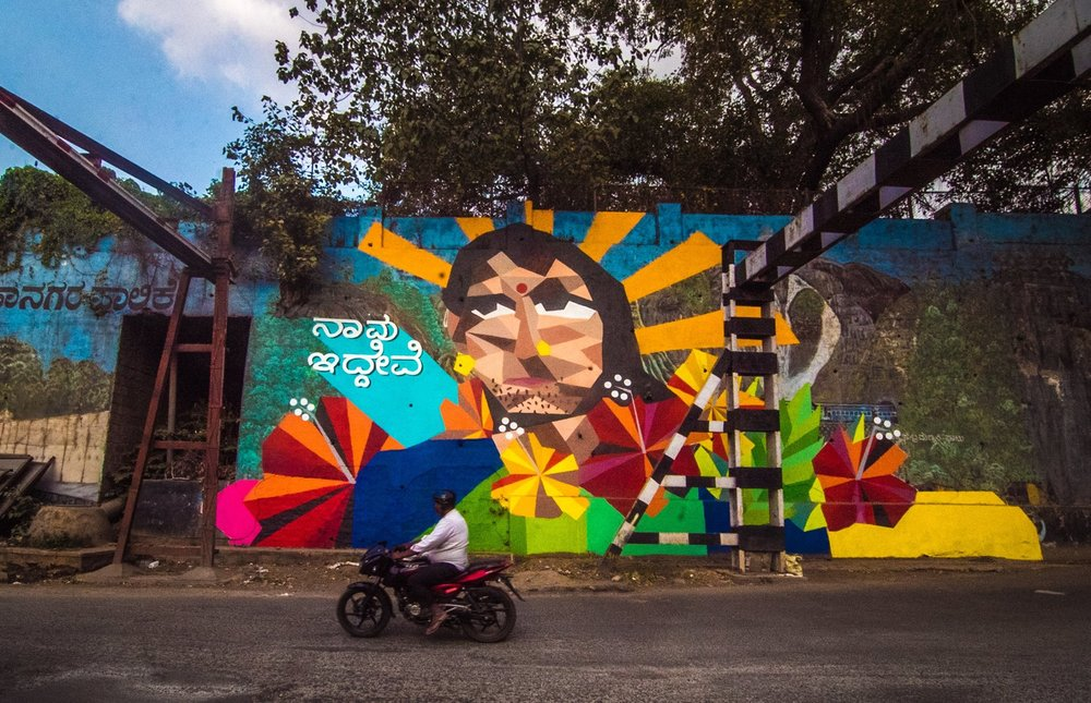 'Naavu Idhevi - We Exist' by Aravani Art Project for St+Art Bengaluru, photo by Akshat Nauriyal