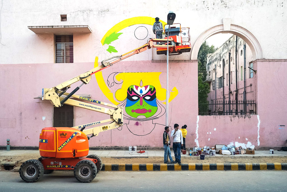 'Temple of Graffiti' by Harsh Raman for St+Art Lodhi Art District, photo by Naman Saraiya
