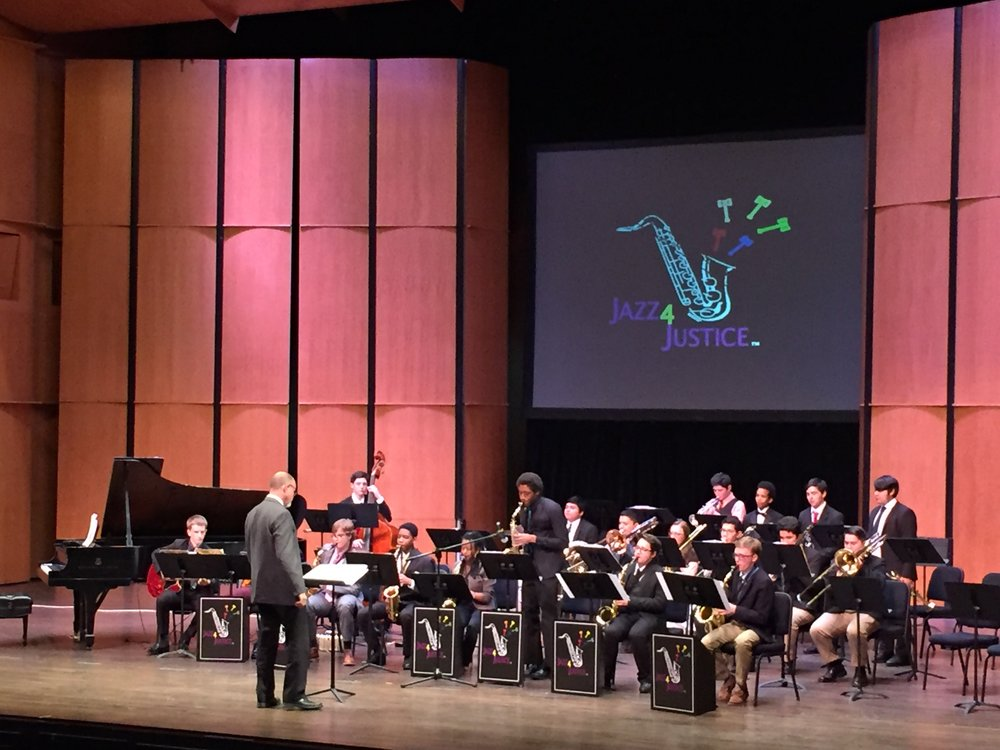 Guest performers TC Williams High School Jazz Ensemble at the Rachel M. Schlessinger Center for the Arts at Northern Virginia Community College, April 2018