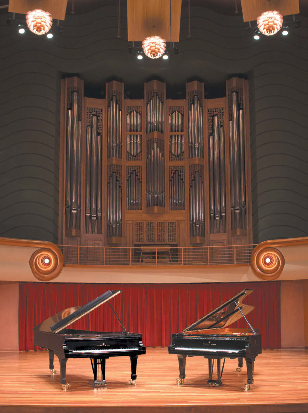New York Steinway (left) and Hamburg Steinway (right) at Legacy Hall, Schwob School of Music, Columbus (Ga.) State University; Jordan Concert Organ by Létourneau