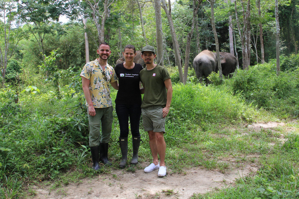 Dusty and I meeting Louise Rogerson, Project Director of Phuket Elephant Sanctuary.