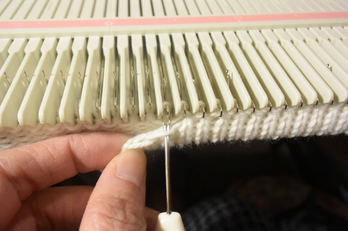 Hang each stitch back to the hook with transferring tool.
