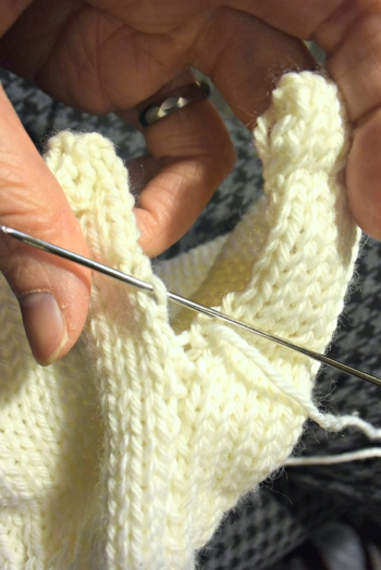 sew though the loops and not knots for quick seaming.