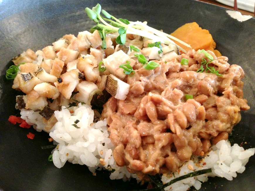 Natto beans on the right side of the dish,