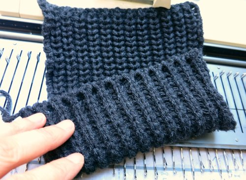 daa0308991fb How to machine knit a half fisherman s rib scarf — Picture Healer ...