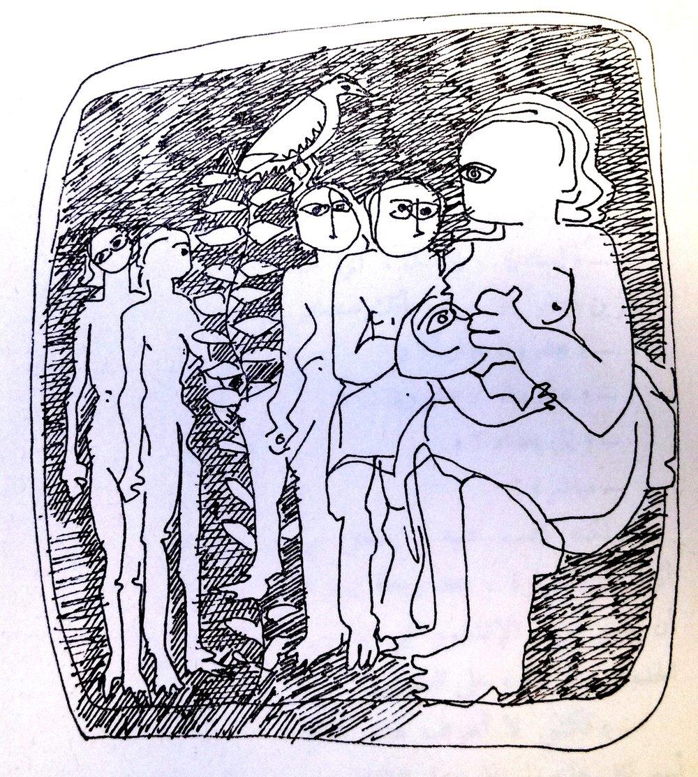 Second in a series by Mona Saudi, in Ghassān Kanafānī's  al-Āthār al-kāmilah , Vol. 1 (Beirut: Dār al-Ṭalīʿah, 1972).